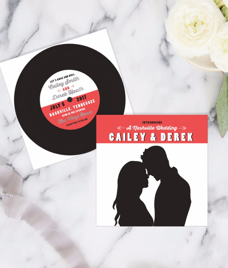 Make the next big hit with Miss Design Berry's vintage vinyl wedding invite set-perfect for rock & roll couples! Personalize