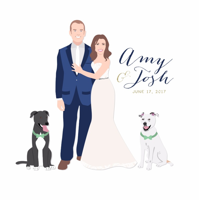 Big or small include them all! Miss Design Berry can add all of your furry friends to our portrait illustrated guest book alternatives