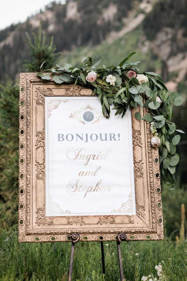 Bonjour wedding sign