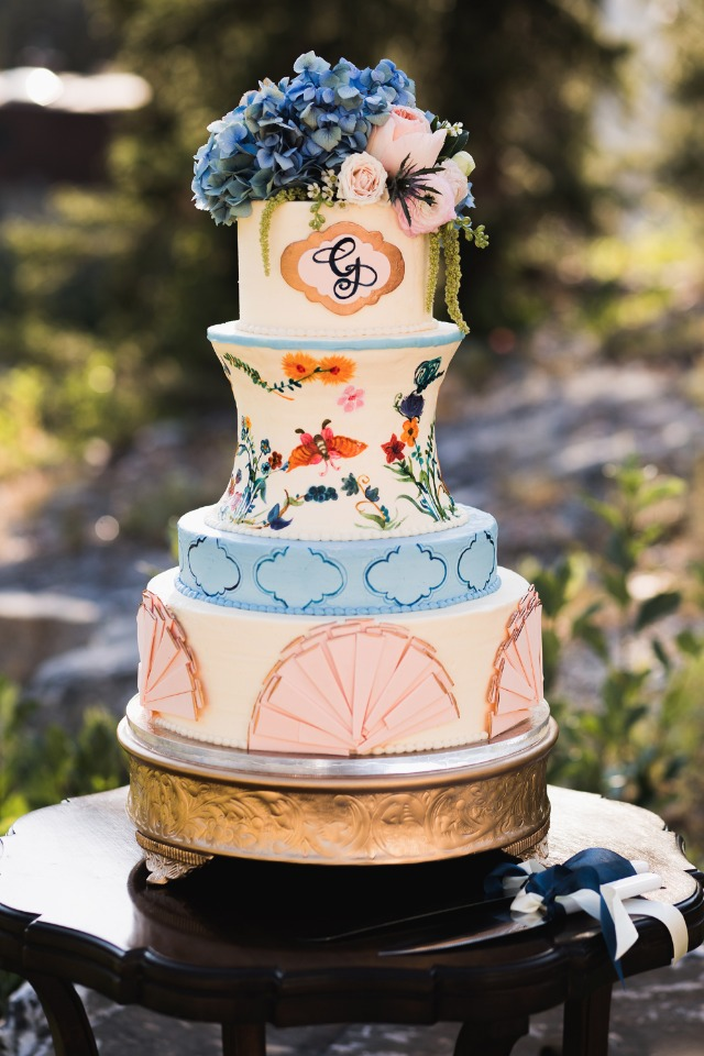 Regal French inspired wedding cake