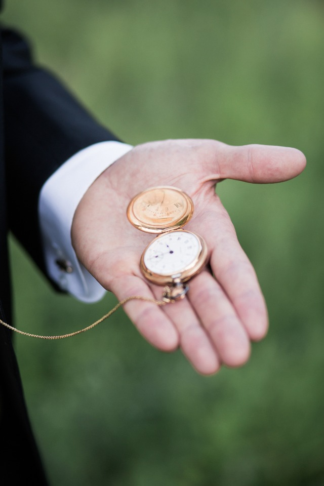 Classic addition for any groom: vintage pocket watch