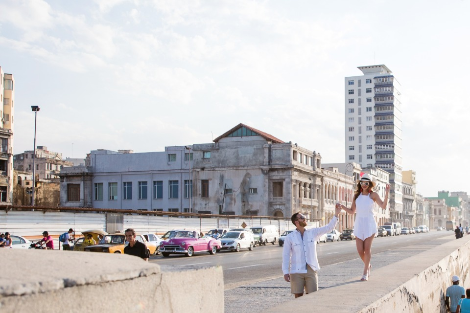 cute Cuban boardwalk engagement session