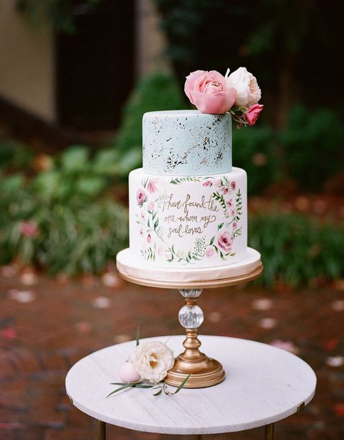 Gold Orb Base Cake Stand by Opulent Treasures & Hand painted quote wedding cake