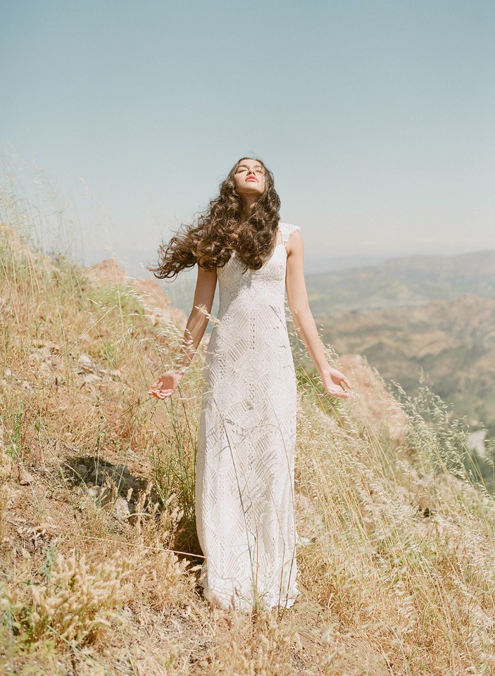 Bohemian wedding gown by Claire Pettibone