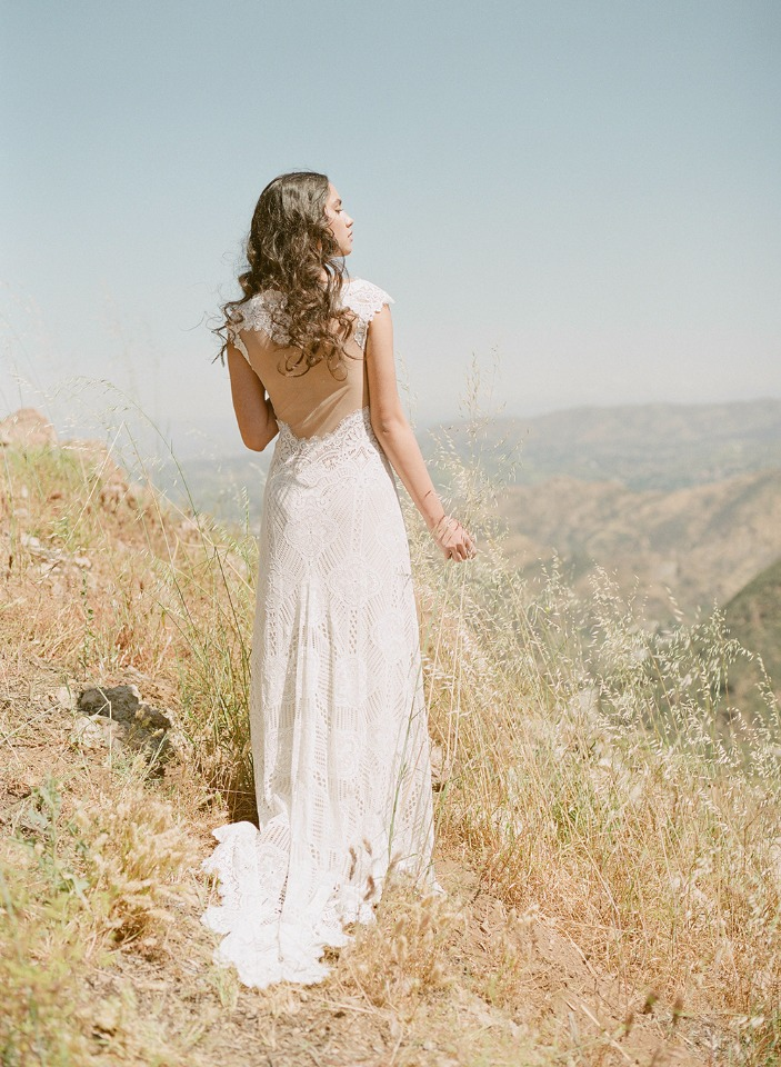 bold geometric boho chic wedding dress from Claire Pettibone