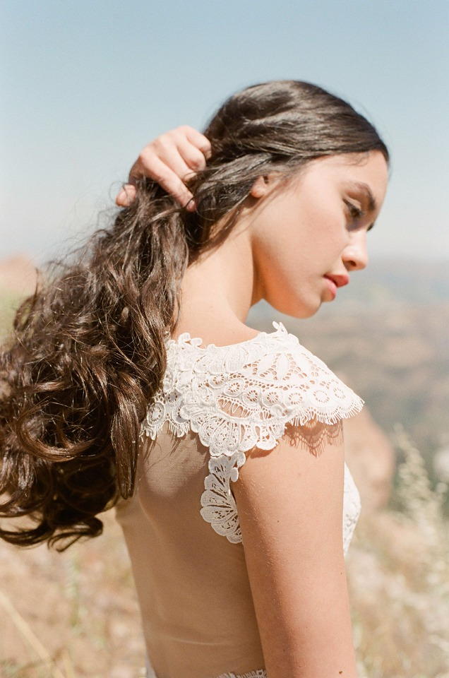 gorgeous lace sleeve detail on Claire Pettibone Calistoga wedding dress.