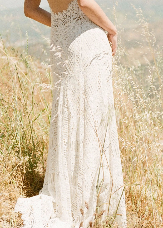 Boho Chic lace wedding gown from Claire Pettibone