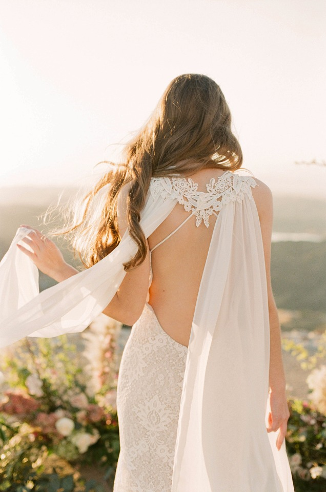 Love the lace detail on the back of this Claire Pettibone wedding gown