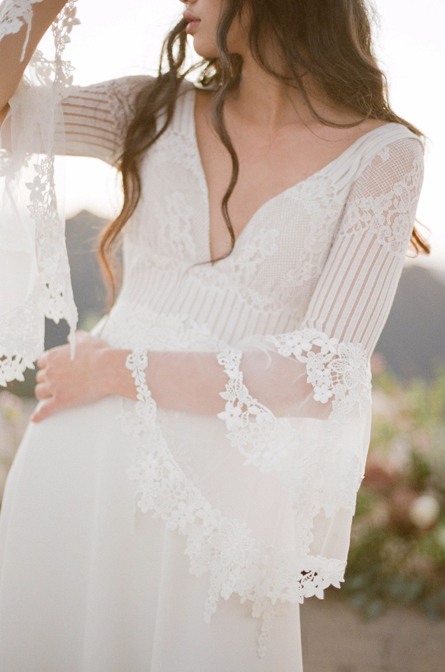 boho chic wedding gown from Claire Pettibone