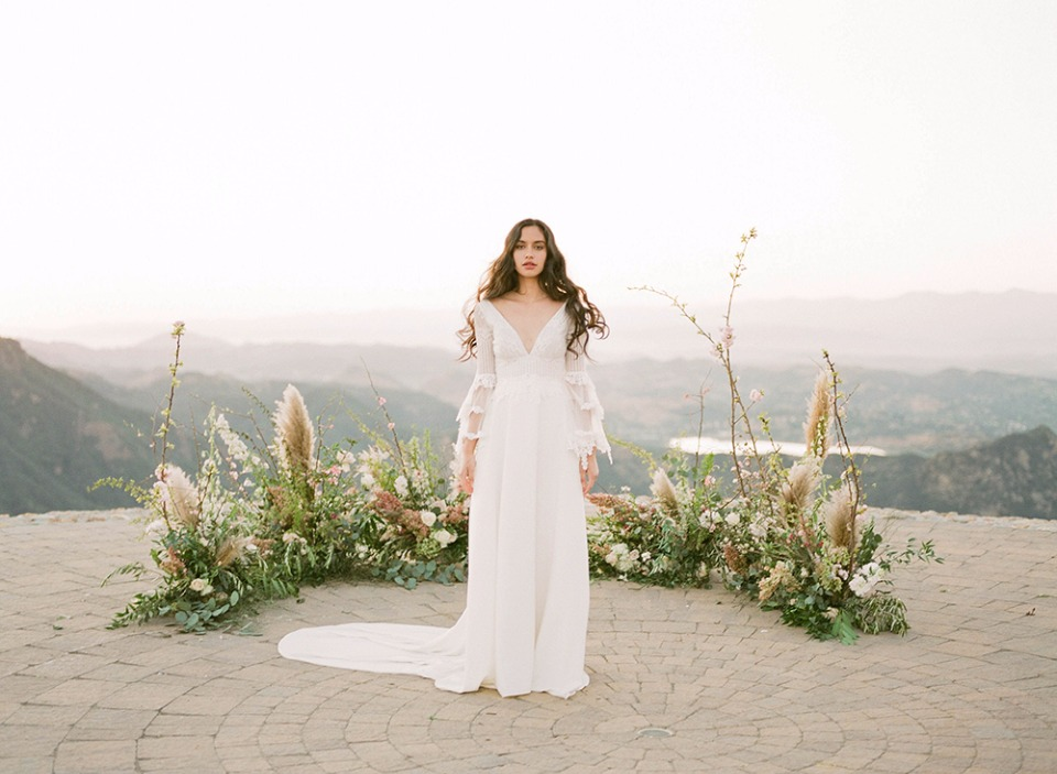bohemian wedding gown from Claire Pettibone