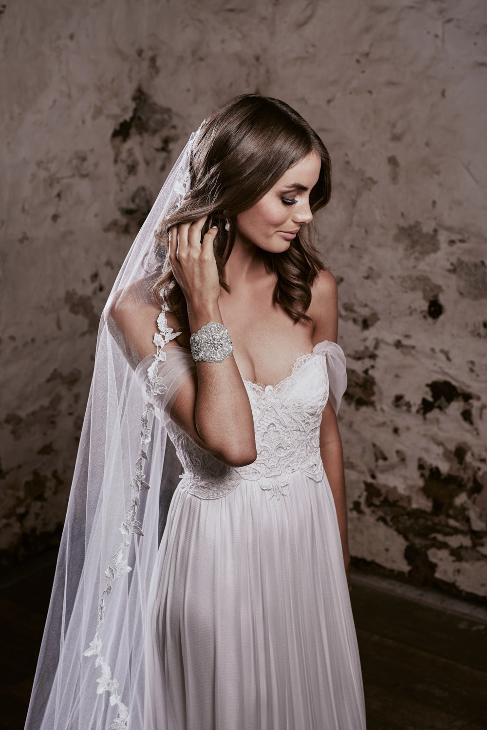 off the shoulder romantic wedding dress