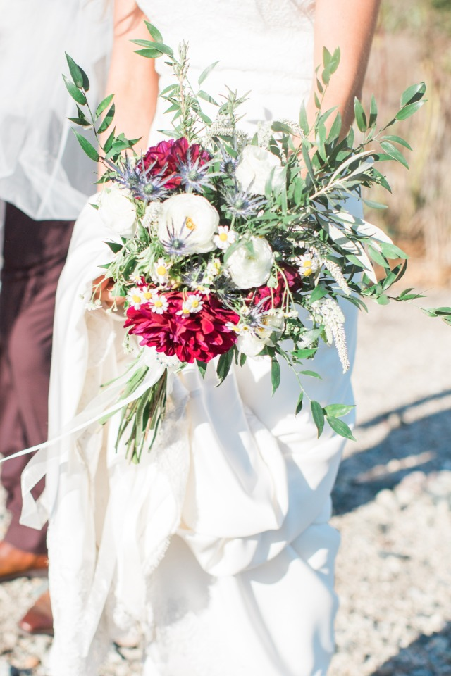 burgundy and blue wedding bouquet