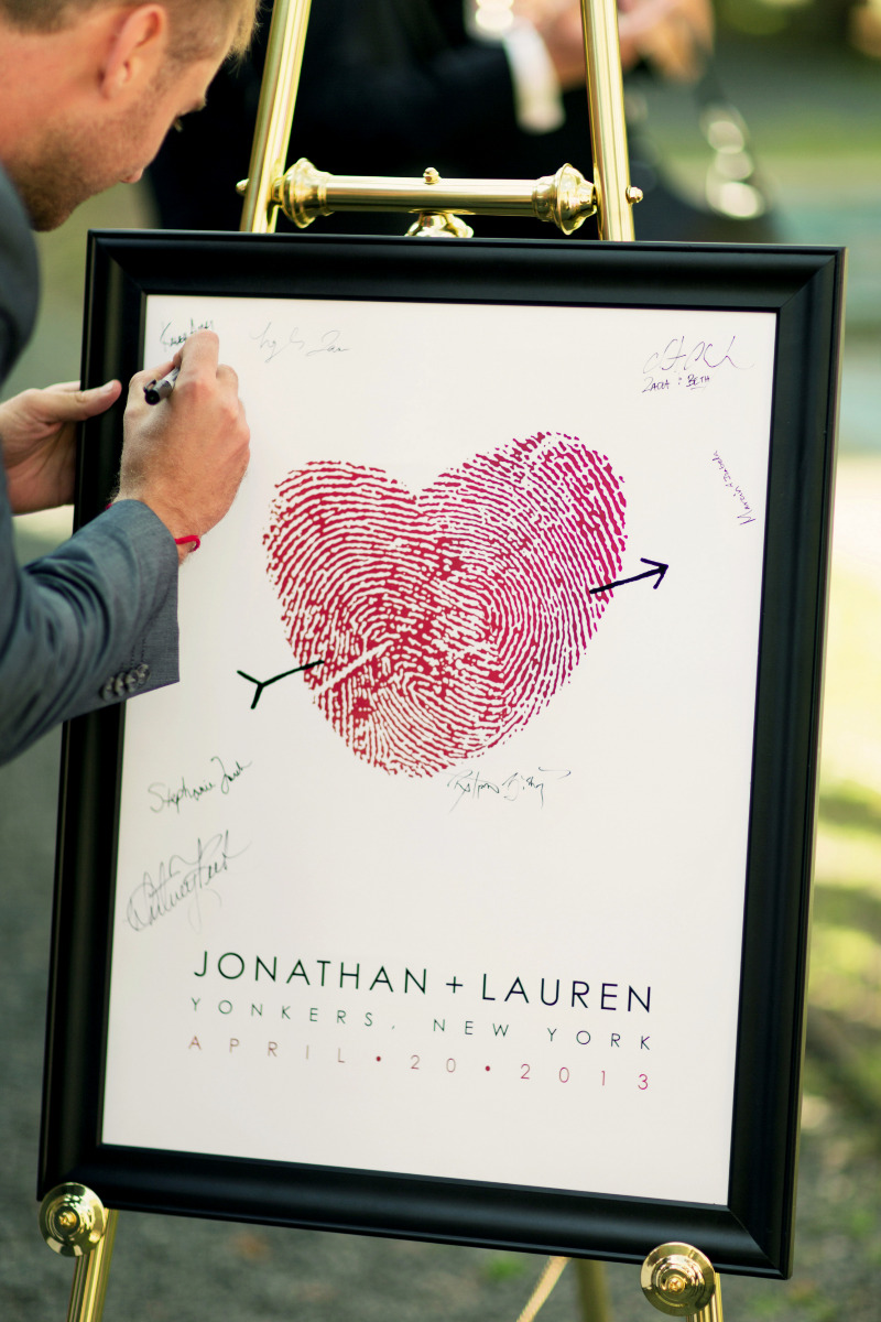 Guest book alternative made with your own fingerprints.