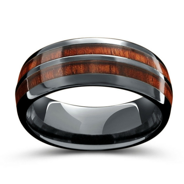 The original Vintage Wood Barrel Ring. This is a men's wood wedding ring crafted out of high tech ceramic. This wood ring has been