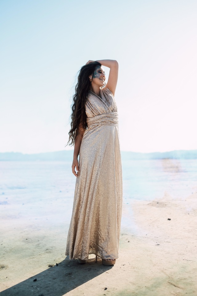 Bride in slinky gold gown