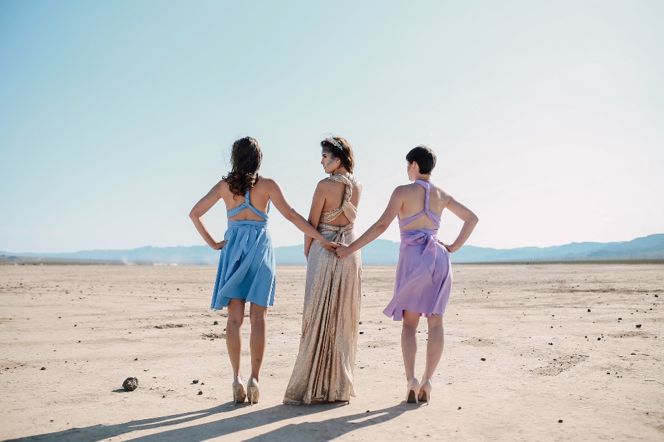 bridesmaids and bride in the Los Vegas desert