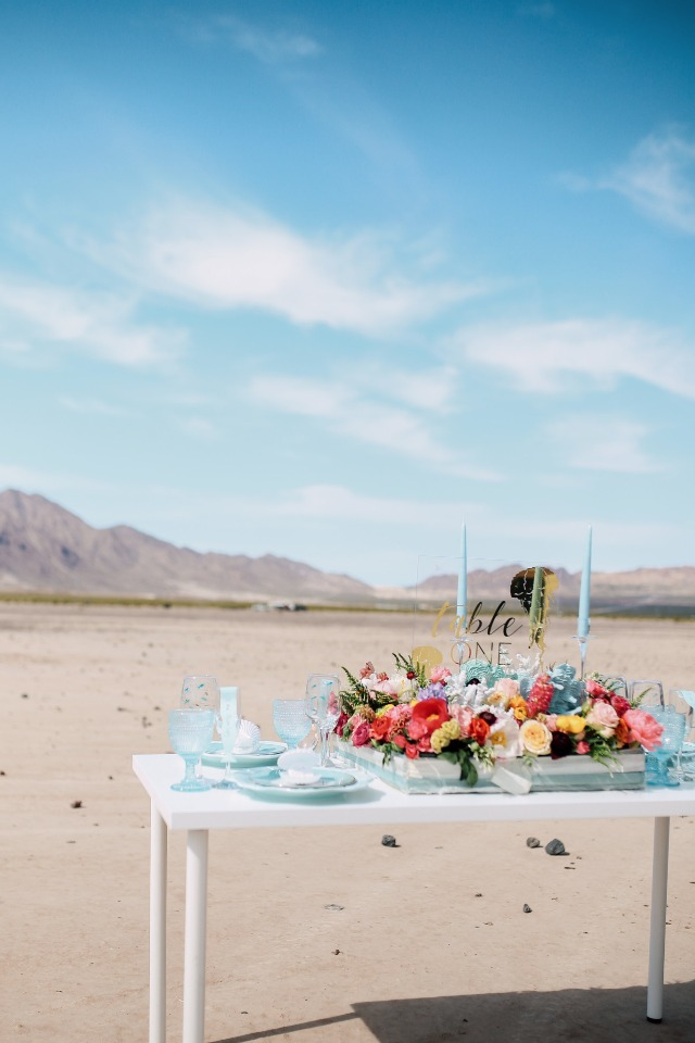 wedding table in the middle of the desert