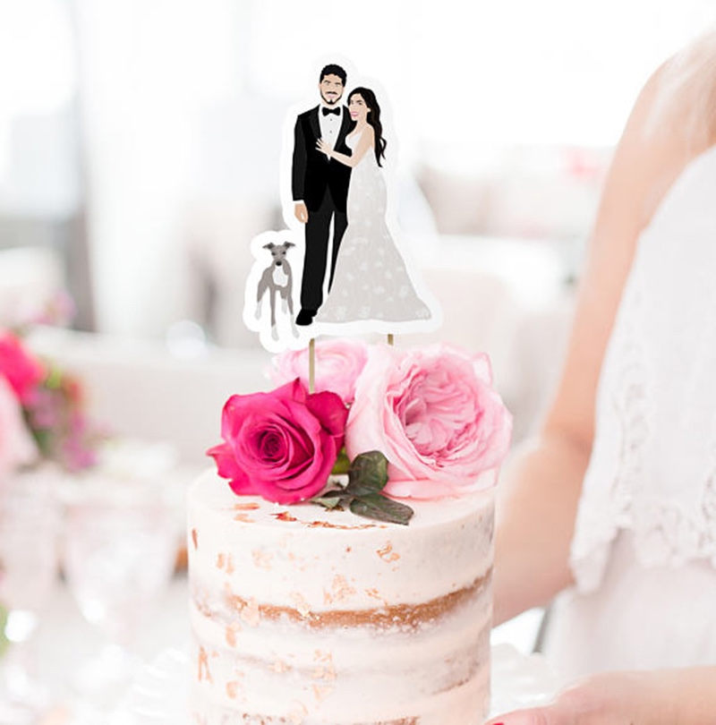 Miss Design Berry's cake topper is custom illustrated to look just like you! You get to customize the outfits, the pets, and everything