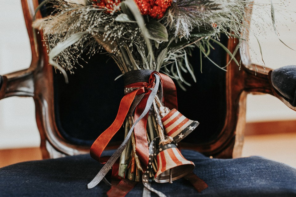 patriotic detail on red white and blue wedding bouquet