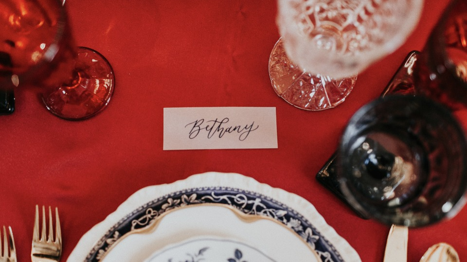 calligraphy place card setting