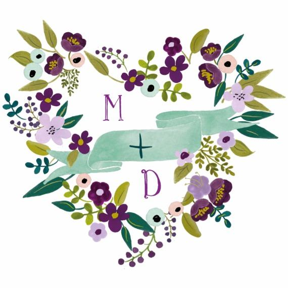 Print: Floral Heart Free Printable Wedding Monogram