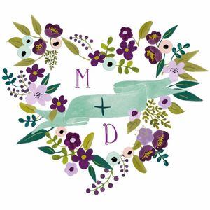 Floral Heart Free Printable Wedding Monogram