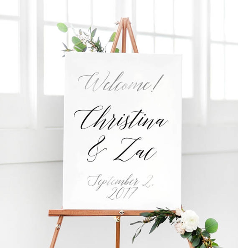 Miss Design Berry's Simple Script Welcome Sign features dynamic type for an elegant yet modern look, perfect for your elegant wedding
