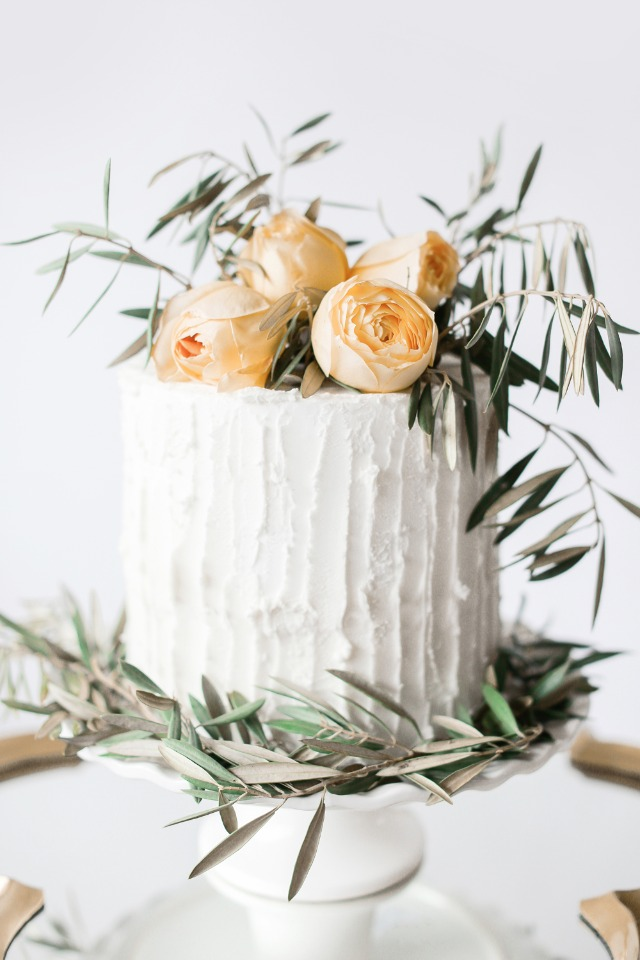 DIY wedding cake flowers with olive branches