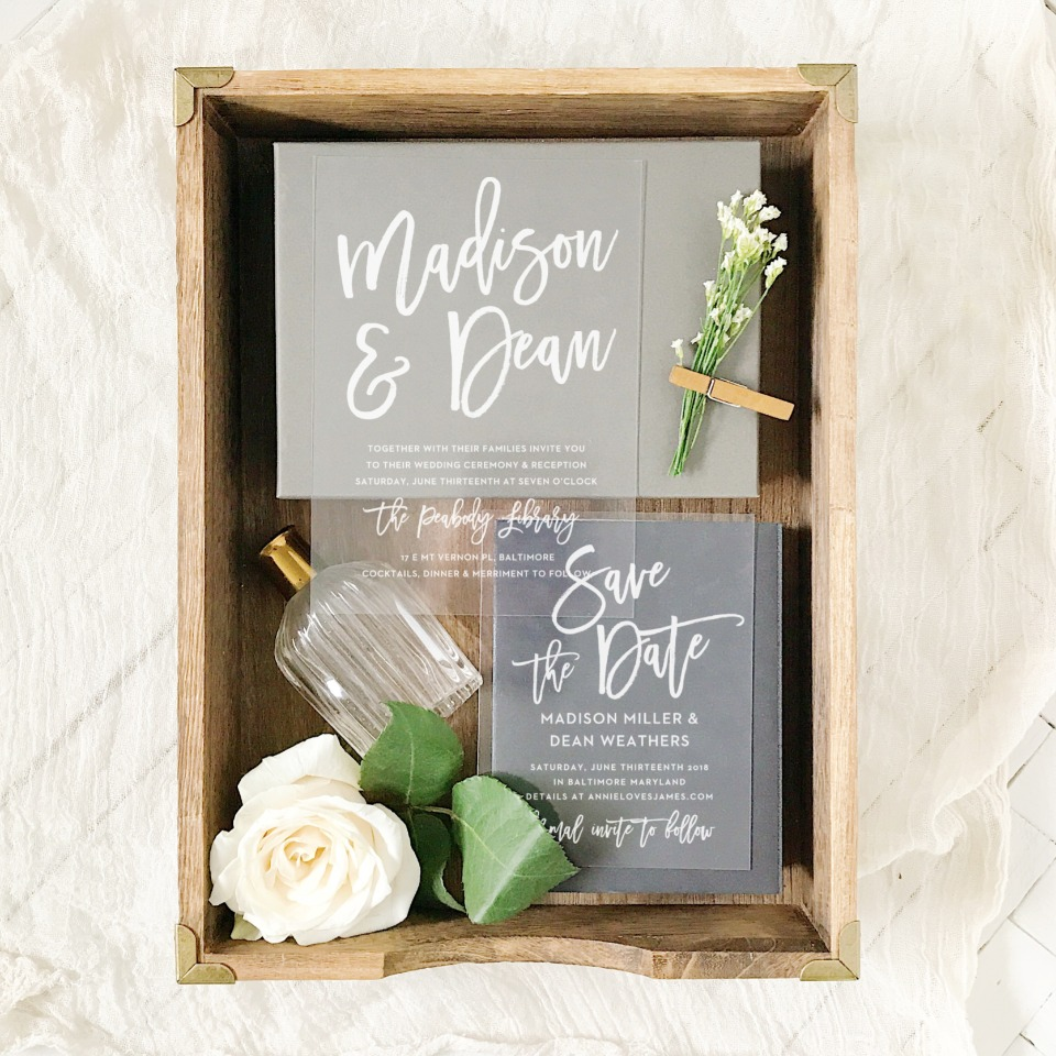 see through wedding invitation and save the date from Basic Invite