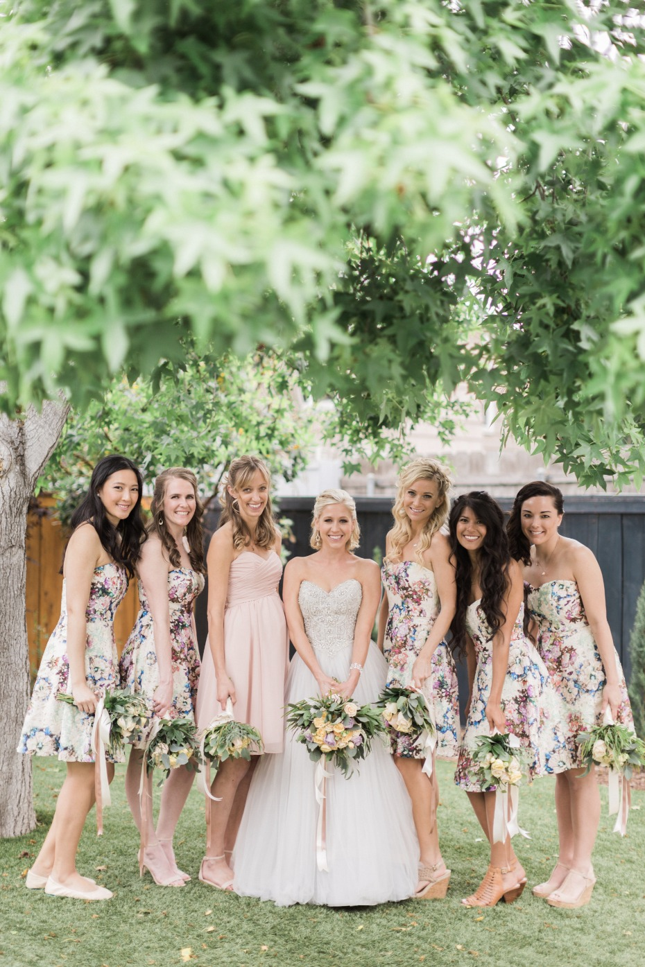 strapless floral bridesmaid dresses