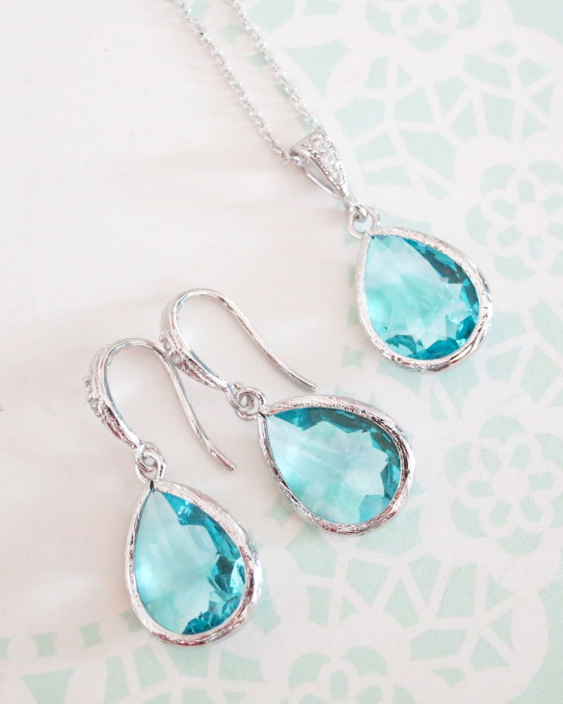 Aquamarine blue teardrop earrings and necklace jewelry set, something blue, bridesmaid bridal shower gifts, wedding gifts, brides jewelry