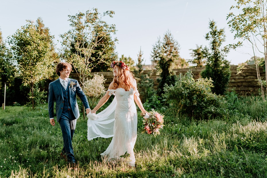 boho bride and classic groom look
