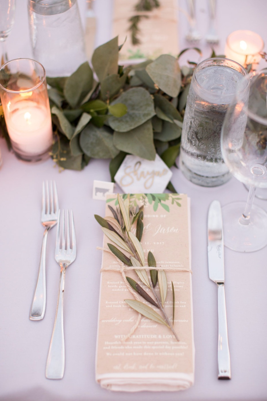 Greenery place setting