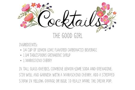 Free Printable Wedding Cocktail Card Signs