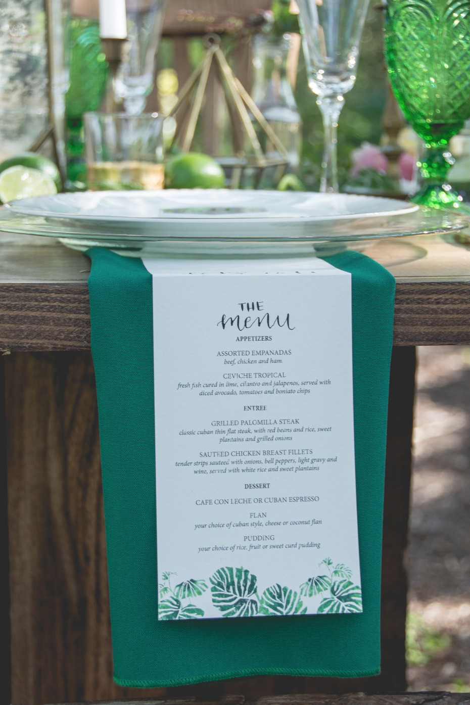 hanging wedding menu