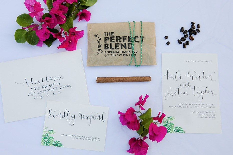 tropical styled wedding stationery and coffee favor