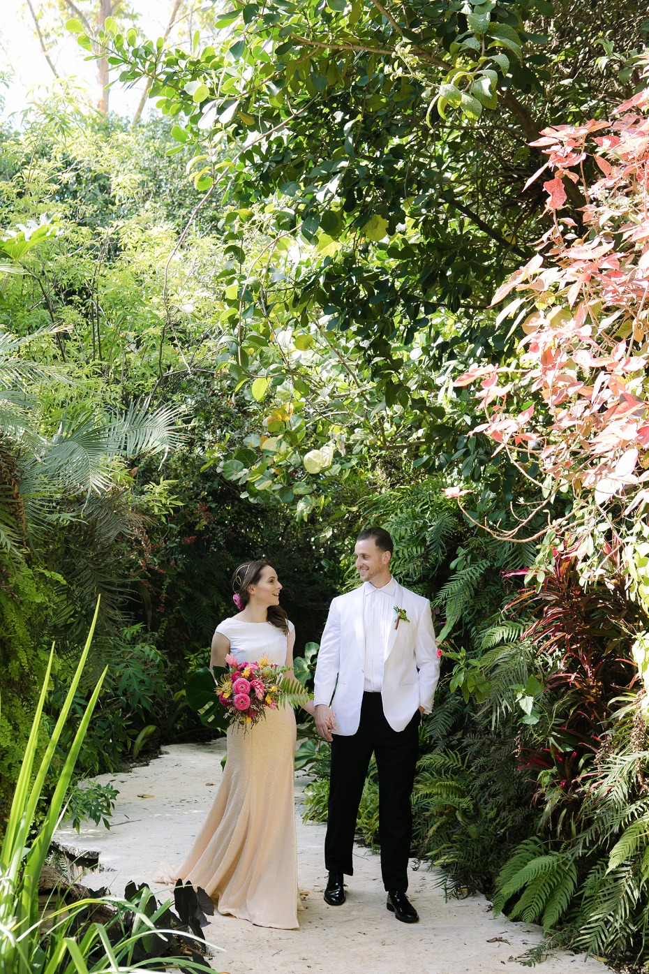 taking a tropical wedding walk
