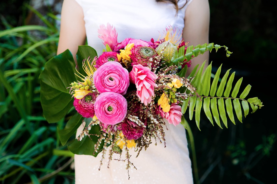 hot pink and yellow tropical bouquet