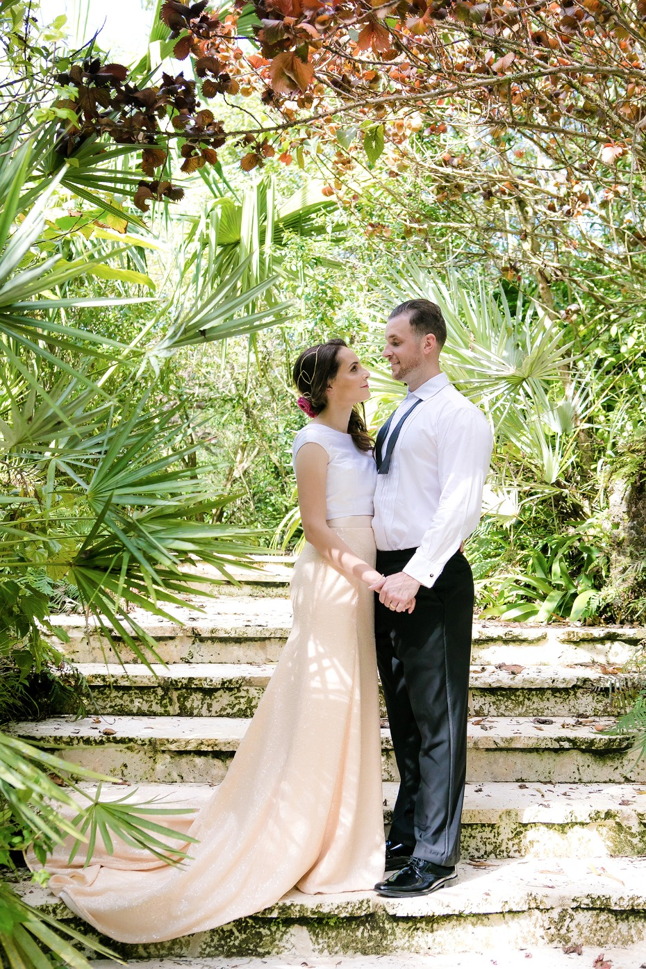 bride and groom with tropical wedding day