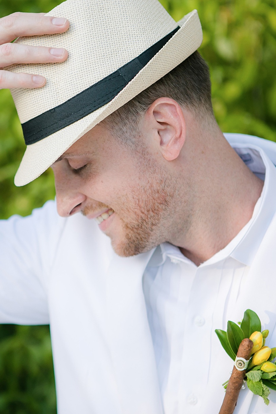 tropical groom look