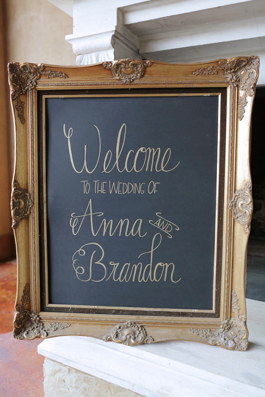 Gold calligraphy wedding sign