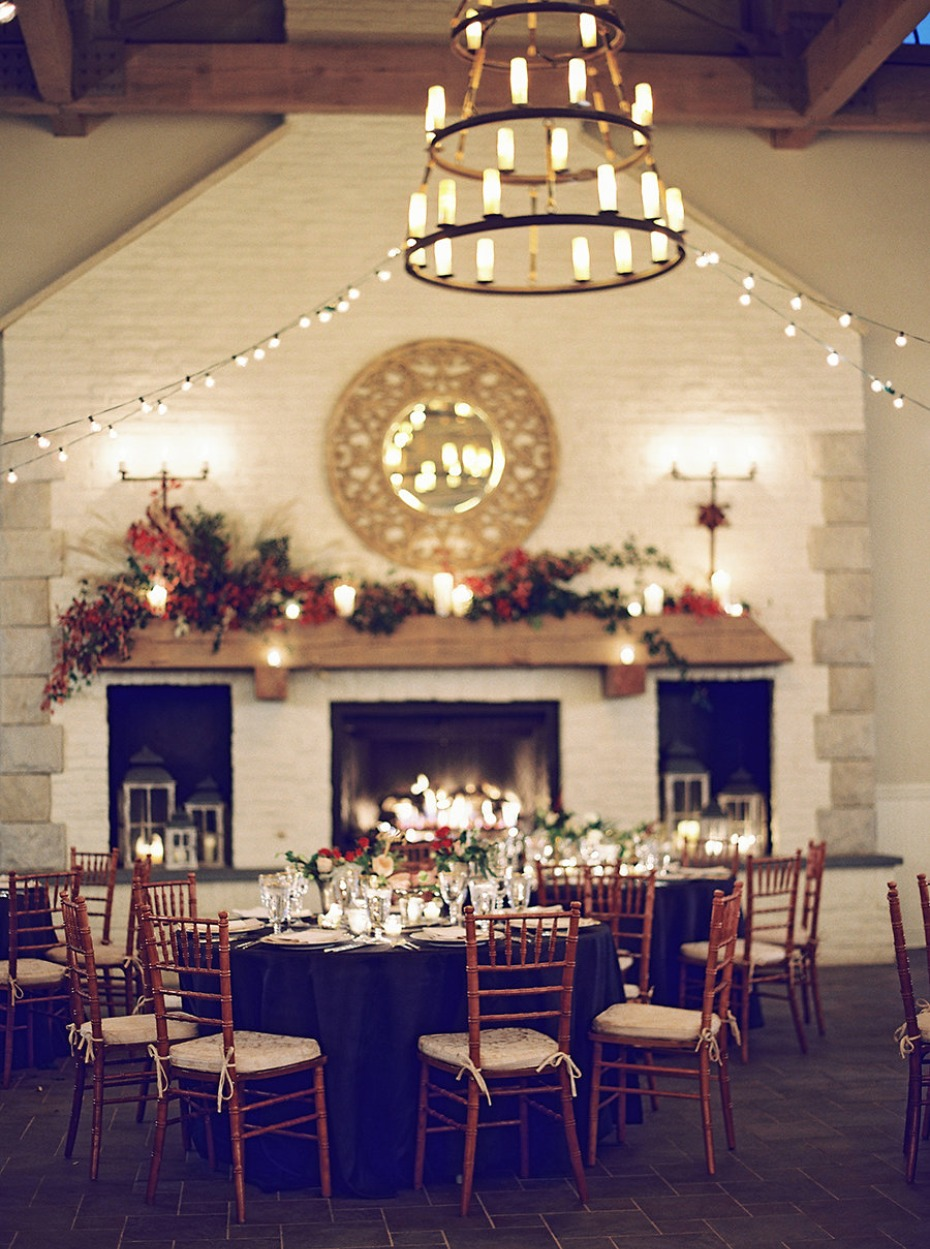 Dreamy reception space with a fireplace