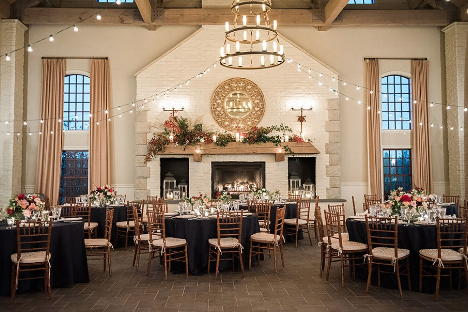 Dreamy reception space with fireplace