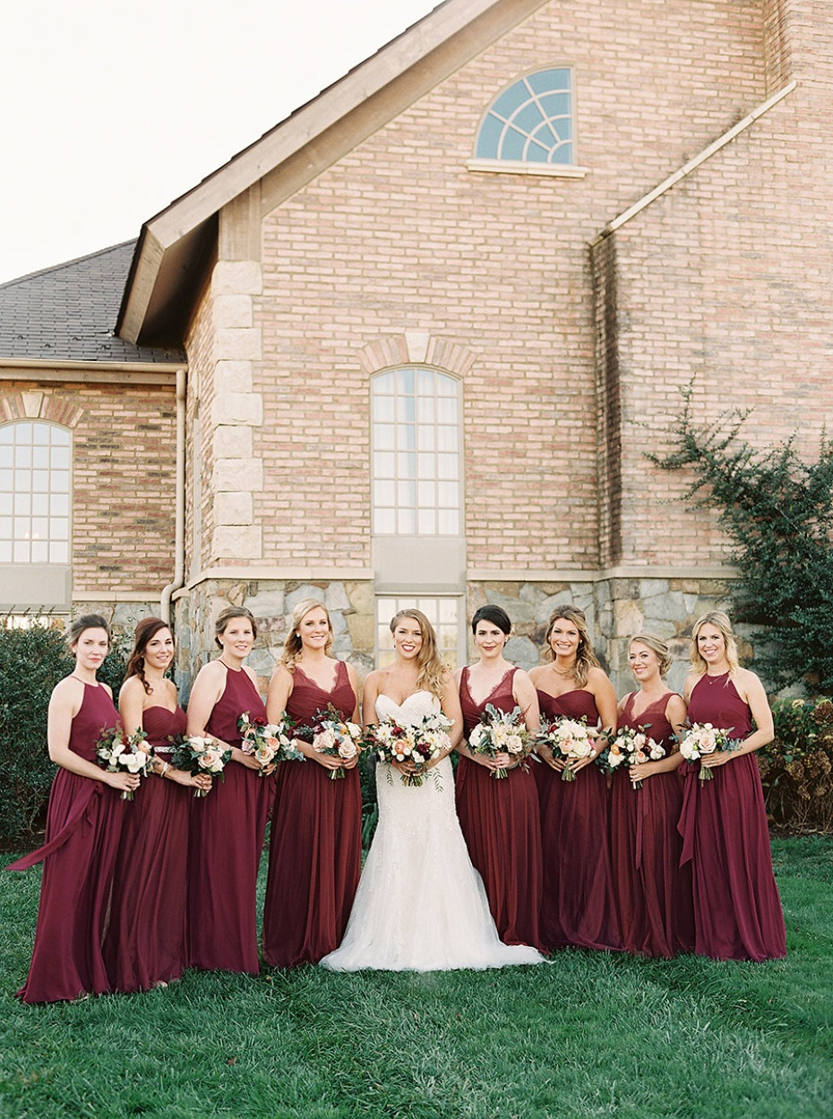 Deep red bridesmaid dresses for an autumn wedding