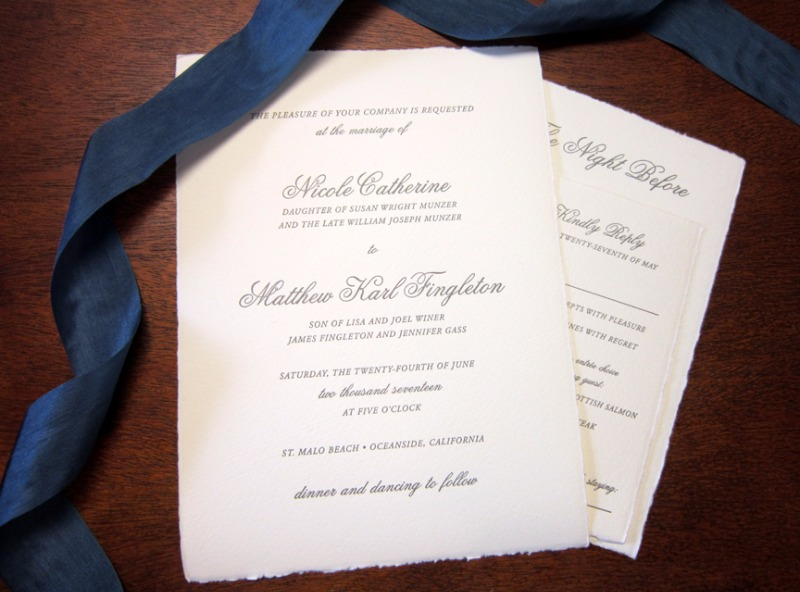 Absolutely adore how Nikki and Matt's California invitation suite from Crane turned out with the help of Persnickety Invitation Studio