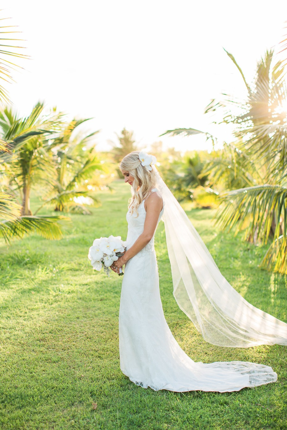 Kauai bride amongst the palm trees