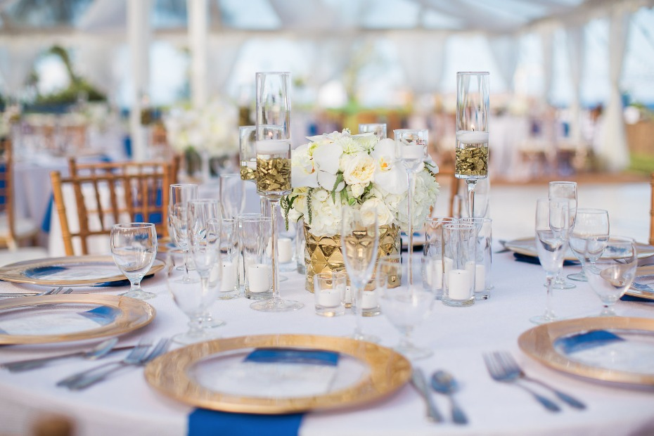 Gold white and blue table setting