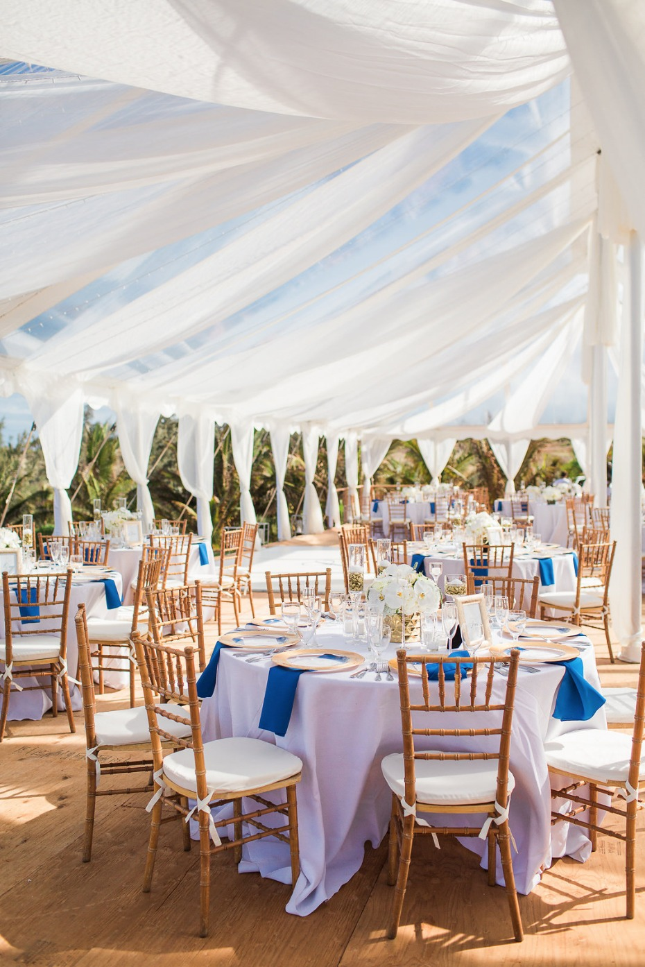 Elegant tent reception in blue and gold