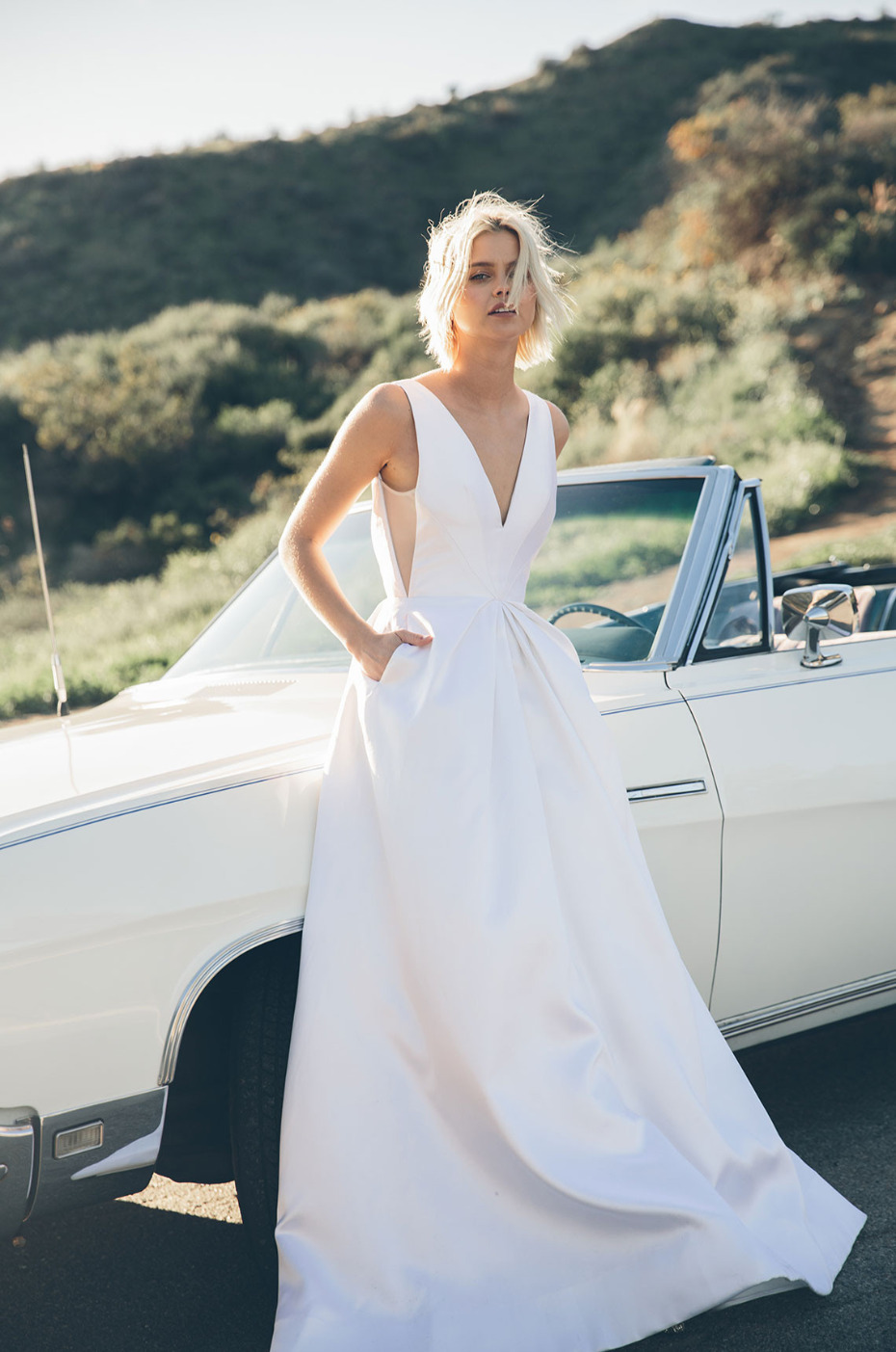 long wedding dress with pockets from Floravere