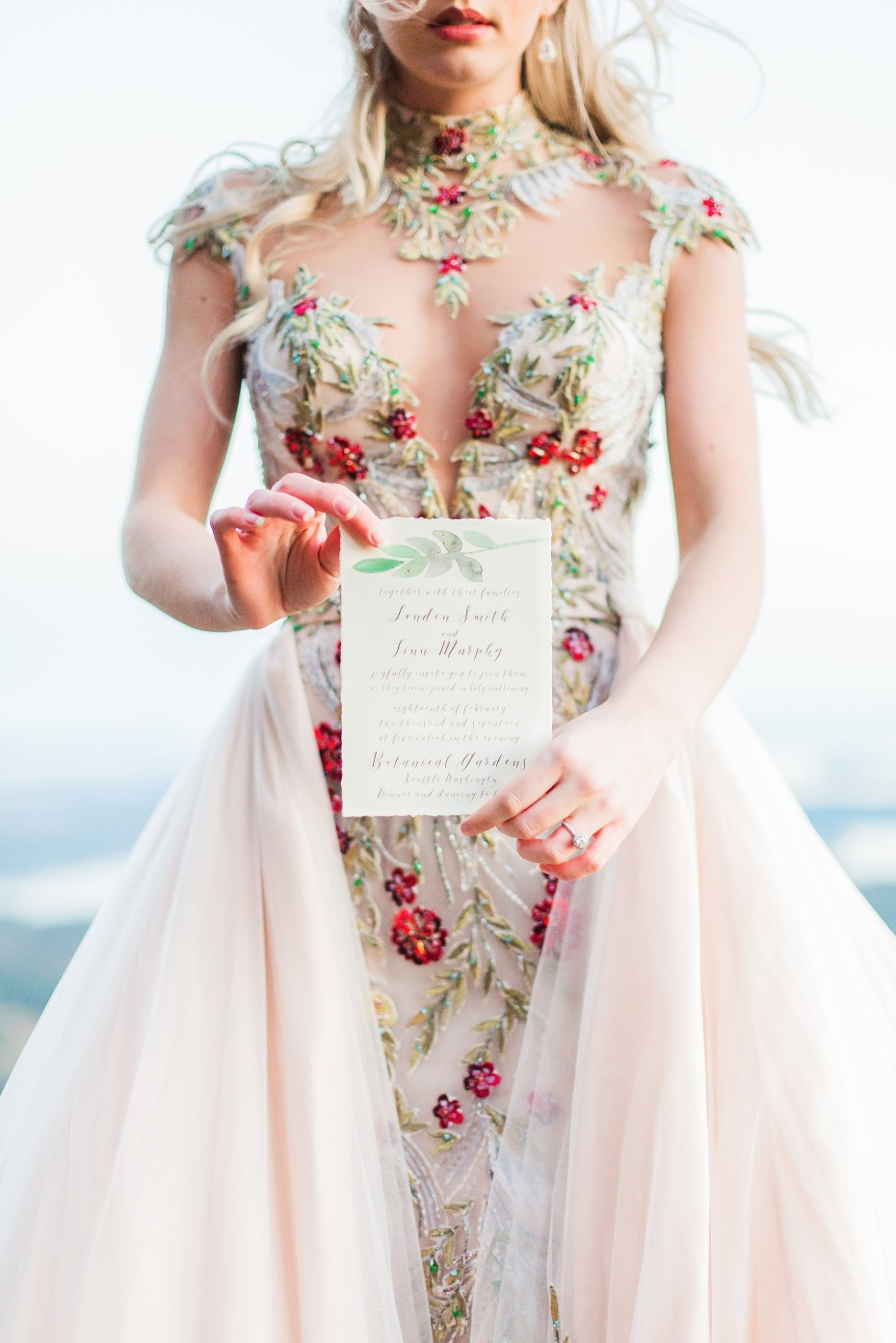 wedding invitation and insanely embroidered wedding gown
